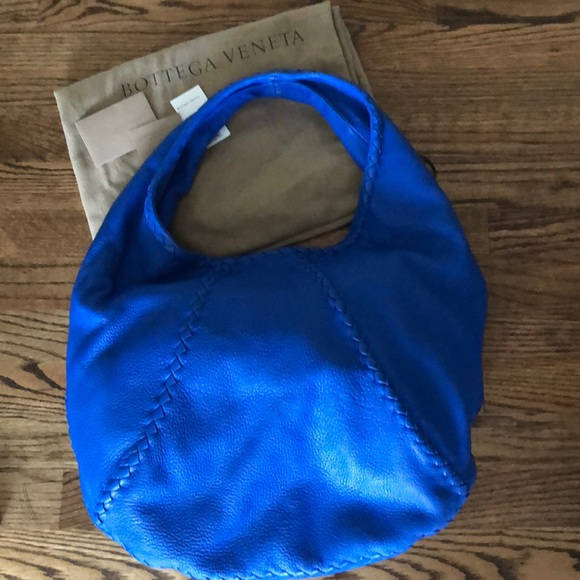 Cervo Signal Blue Deerskin Leather Hobo Bag cd1bd7e2b9566